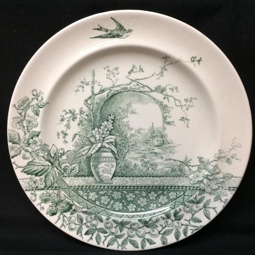 Aesthetic Movement Green Transferware Plate ~ RUSTIC