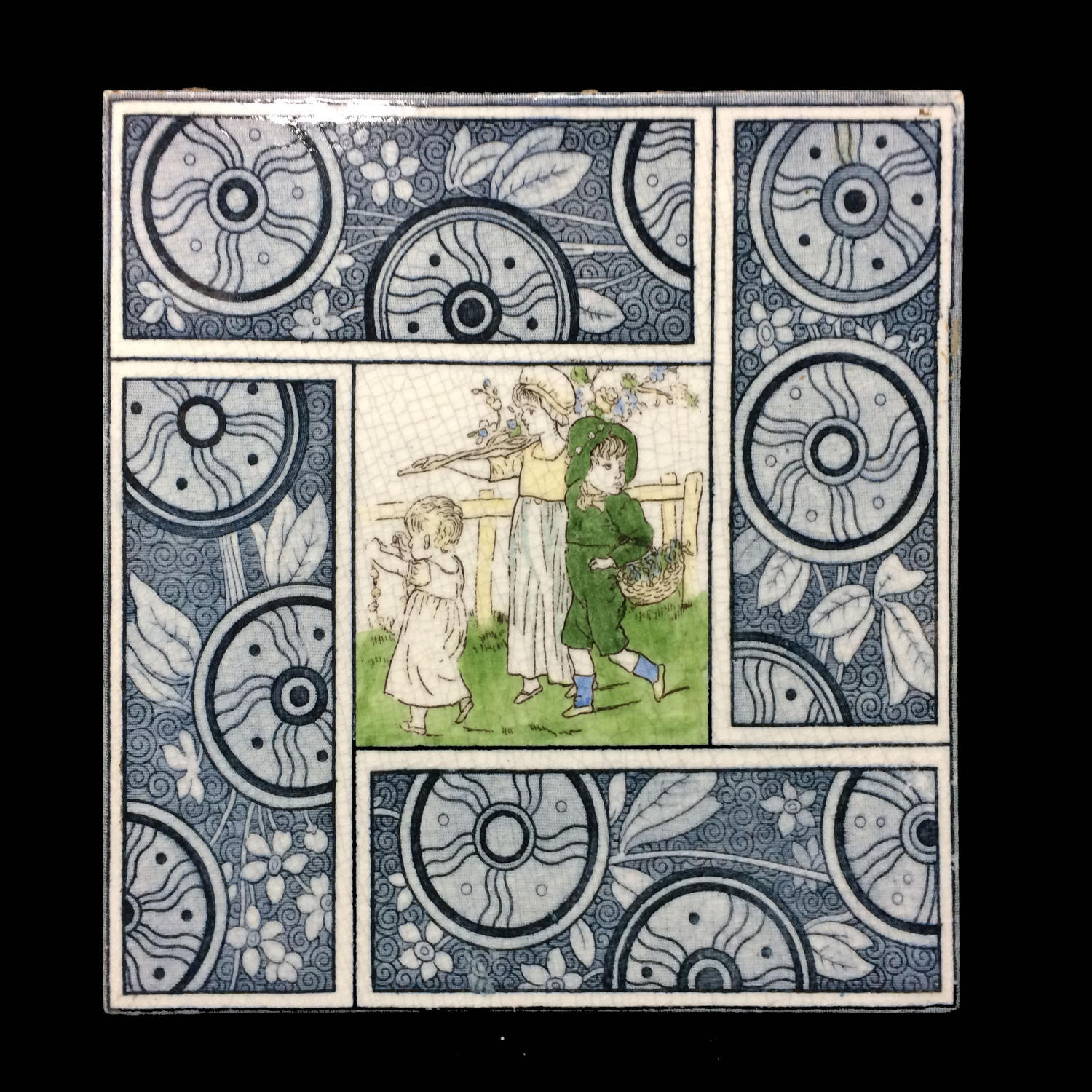 1880 Artist Kate Greenaway Tile ~  Children ~ 1881