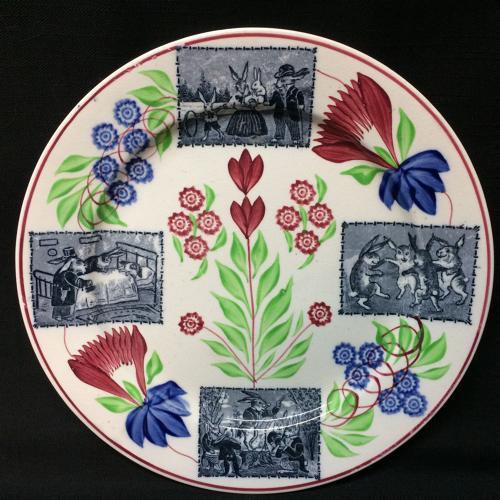 C 1900 ~ Stick Spatter Rabbitware Ironstone Plate ~ Virginia Rose