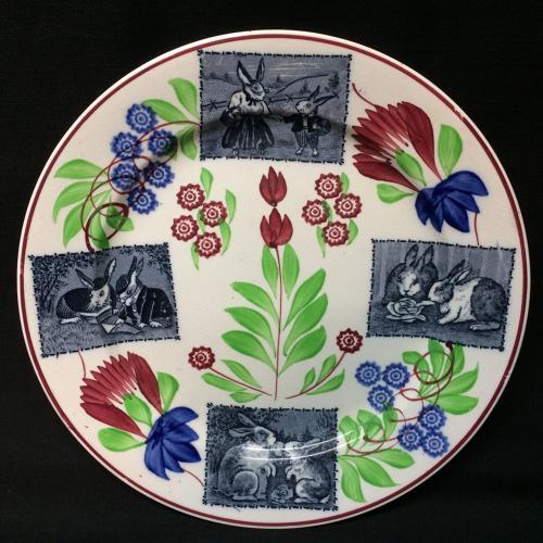 C 1900 ~ Stick Spatter Ironstone Rabbitware Plate ~ Virginia Rose