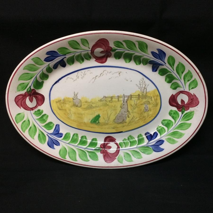 Stick Spatter Rabbitware Ironstone PLATTER ~ Adams Rose c1900