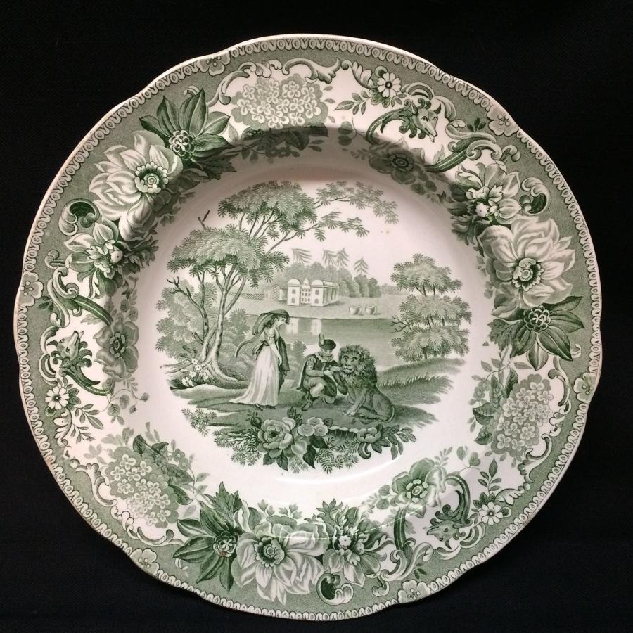 Transferware Deep Plate Lion in Love ~ Aesop's Fables 1835