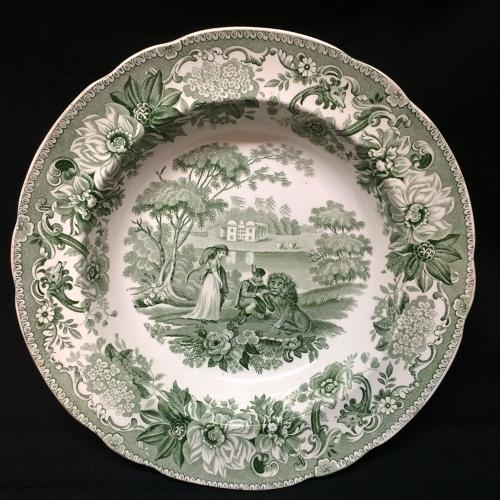 Transferware Deep Plate Lion in Love ~ Aesop's Fables 1835