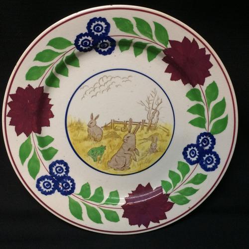 C 1900 ~ Stick Spatter Rabbitware Ironstone Plate ~ Adams Rose