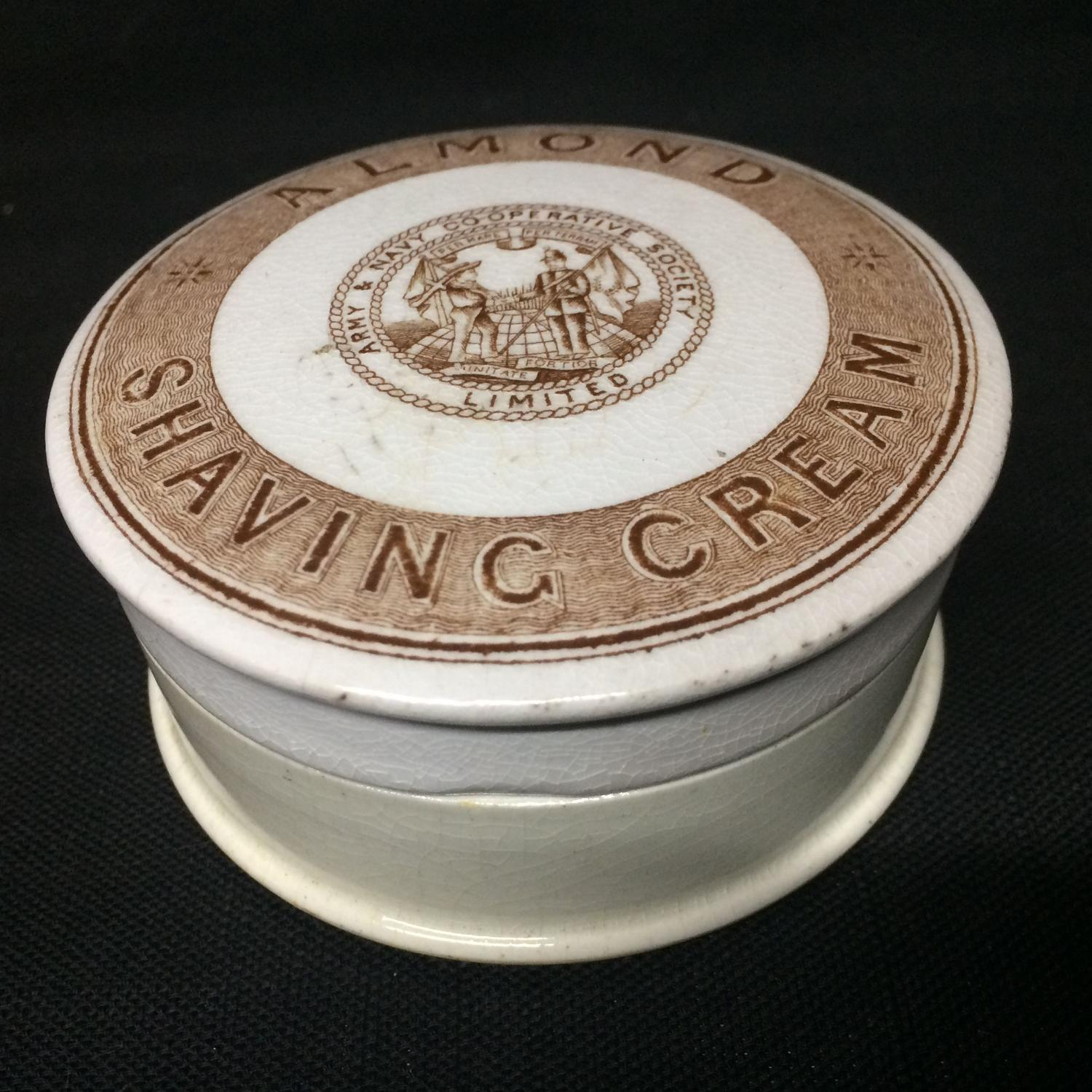Victorian Brown Almond Shaving Cream Pot Lid 1880