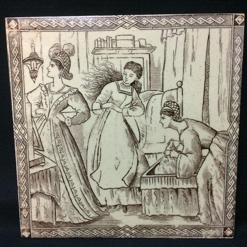 Victorian Malkin Antique CINDERELLA Tile ~ Clothing Gowns 1880