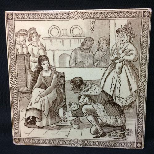 Victorian Malkin Antique CINDERELLA Tile ~ Magic Silver Slipper 1880