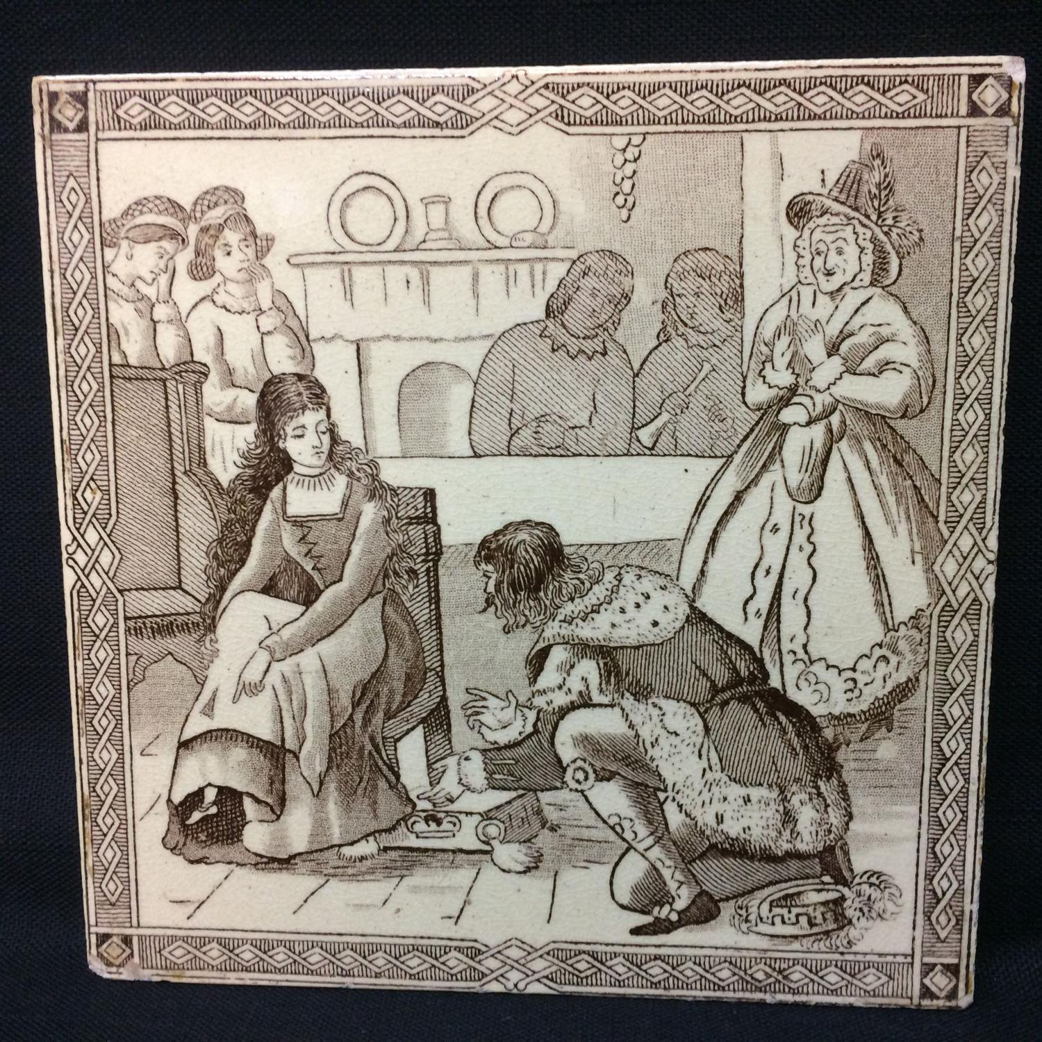 Victorian Malkin Antique CINDERELLA Tile ~ Magic Silver Slipper 1880