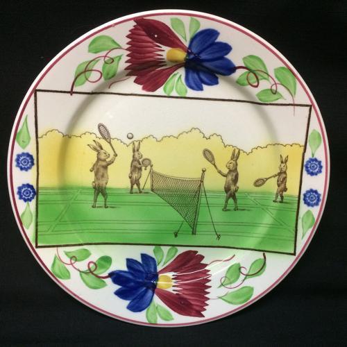 C 1900 ~ Anthropomorphized Rabbitware Rabbit Plate ~ TENNIS