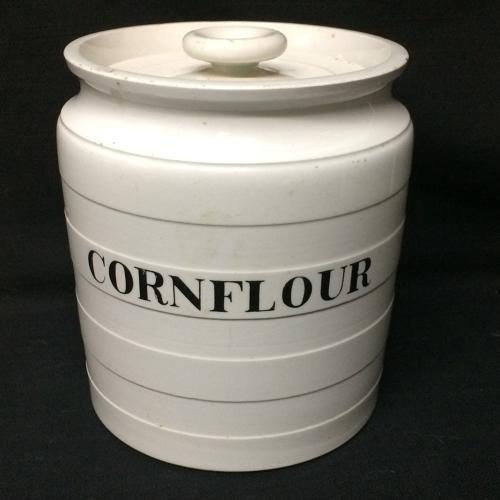 Maling Edwardian White Banded Kitchen Storage Jar ~ CornFlour ~ c 1920
