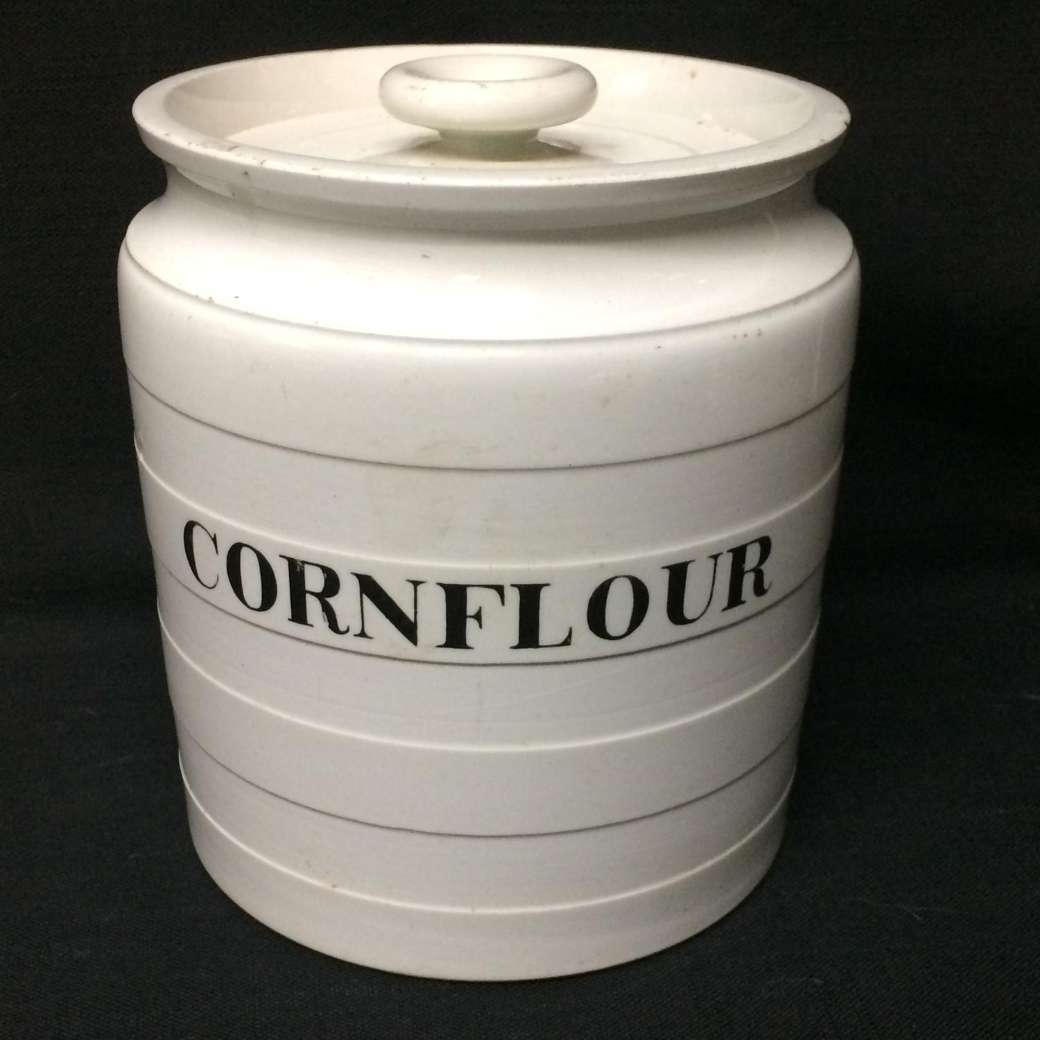 Maling Edwardian White Banded Kitchen Storage Jar ~ CornFlour ~ c 1920
