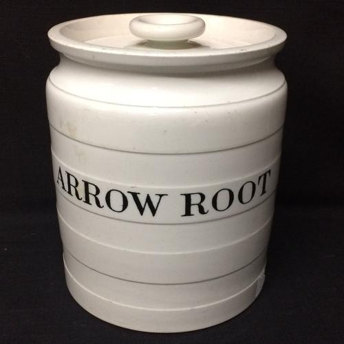 Maling Edwardian White Banded Kitchen Storage Jar ~ Arrow Root c 1920