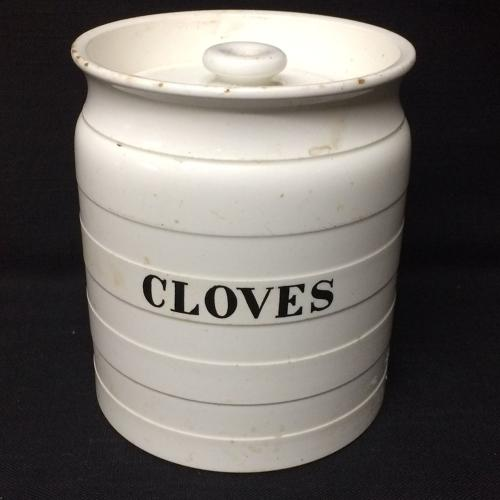 Minton Edwardian White Banded Kitchen Storage Jar ~ Cloves ~ c 1920
