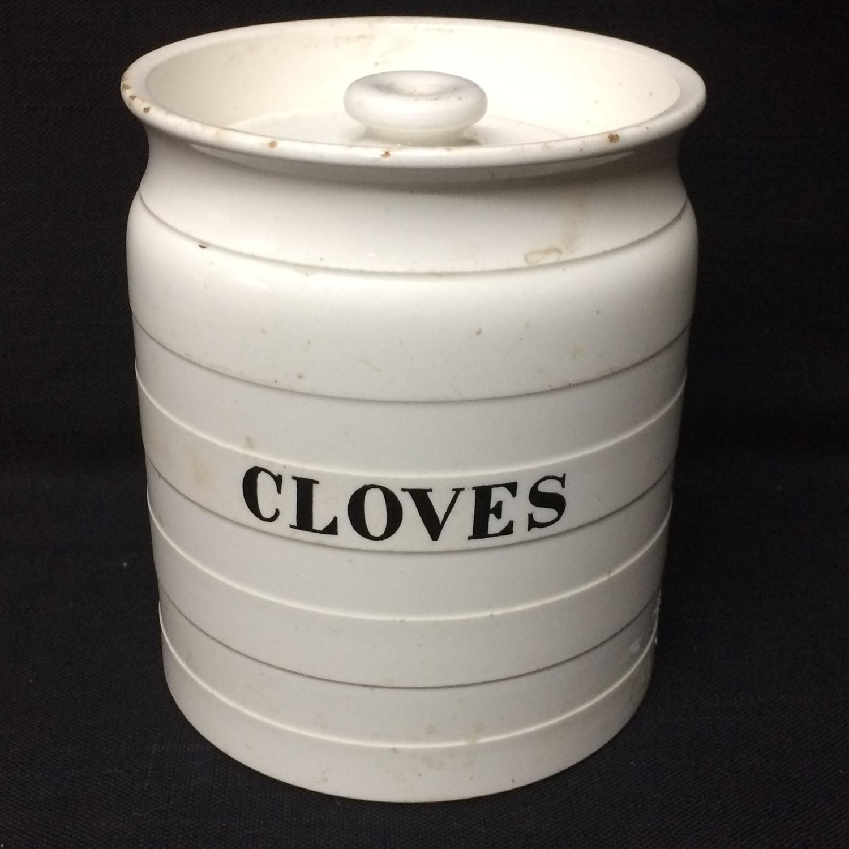 Minton Edwardian White Banded Kitchen Storage Jar ~ Cloves ~ c 1920