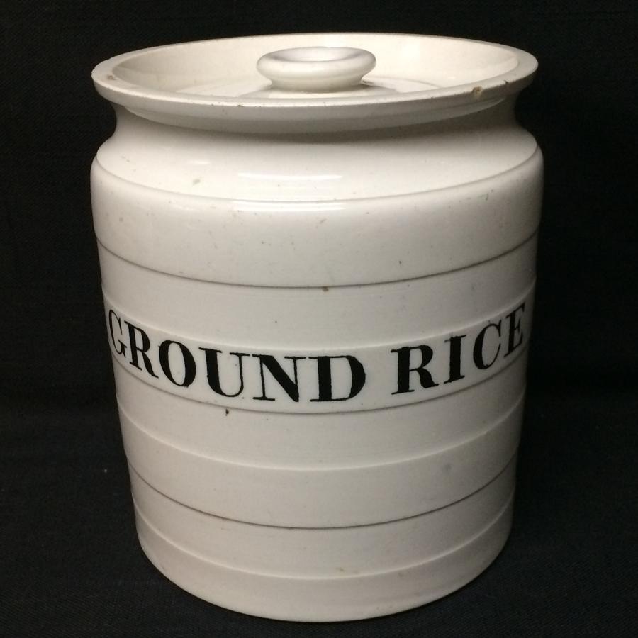 Maling Edwardian White Banded Kitchen Storage Jar ~ Ground Rice c 1920