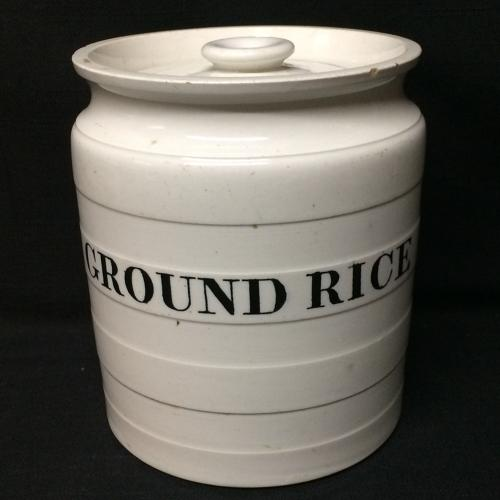 Maling Edwardian White Banded Kitchen Storage Jar ~ Ground Rice c 1920