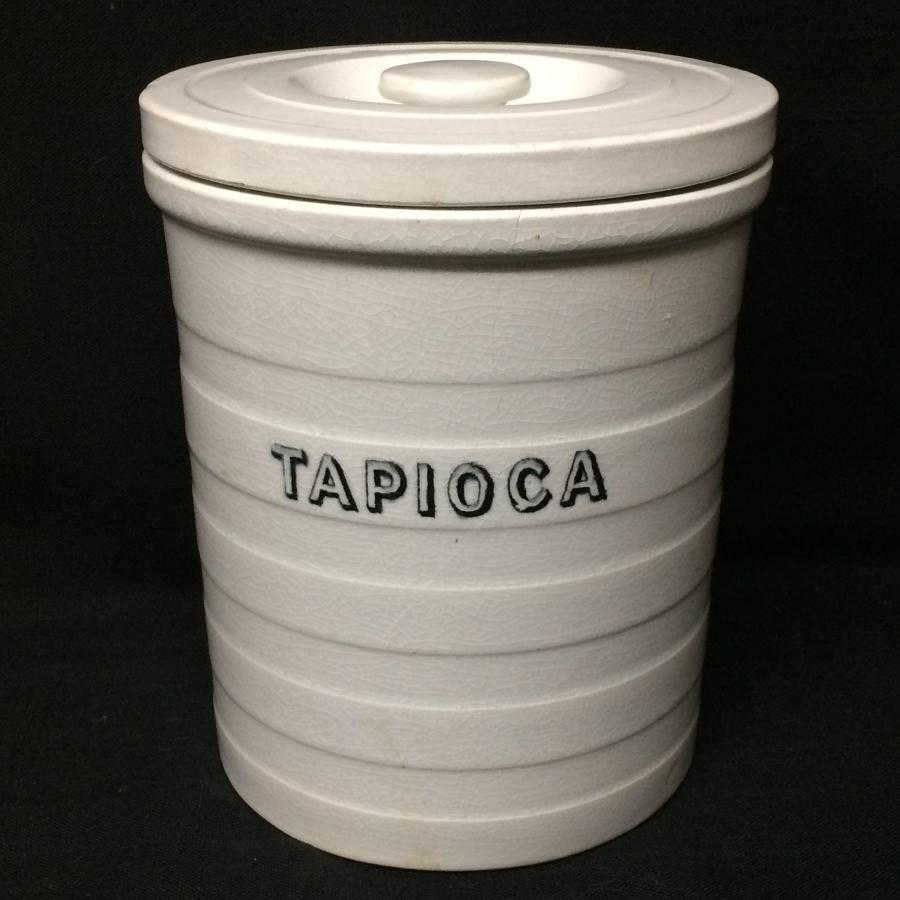 Maling Edwardian White Banded Kitchen Storage Jar ~ Tapioca ~ c 1920