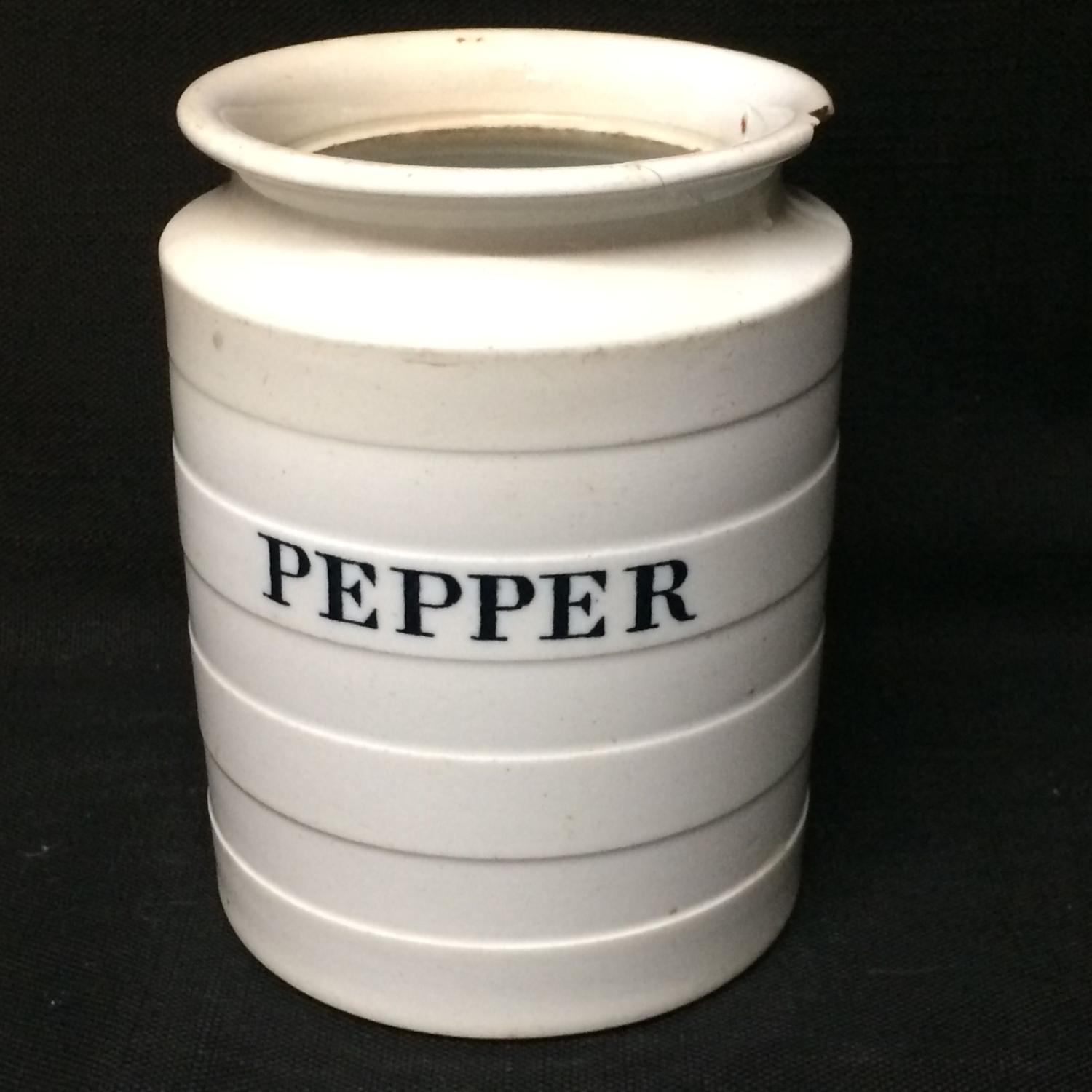 Copeland Edwardian White Banded Kitchen Storage Jar ~ Pepper ~ c 1920