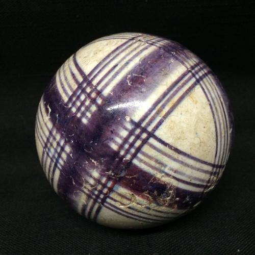 Victorian Ceramic Purple Striped Scottish Carpet Ball 1860