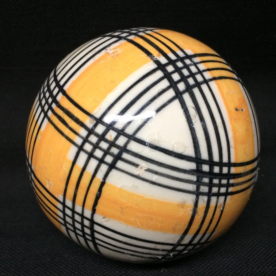 Victorian Golden Yellow Striped Scottish Carpet Ball 1860