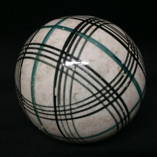 Victorian Green & Black Striped Scottish Carpet Ball 1860