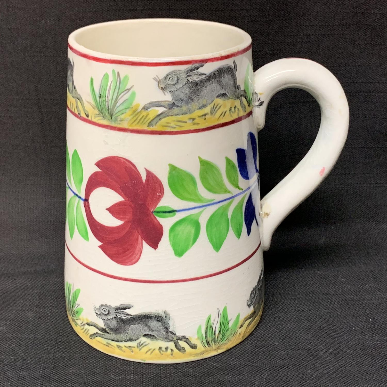 C 1900 ~ Stick Spatter Rabbitware Ironstone Tankard Mug ~ Adams Rose
