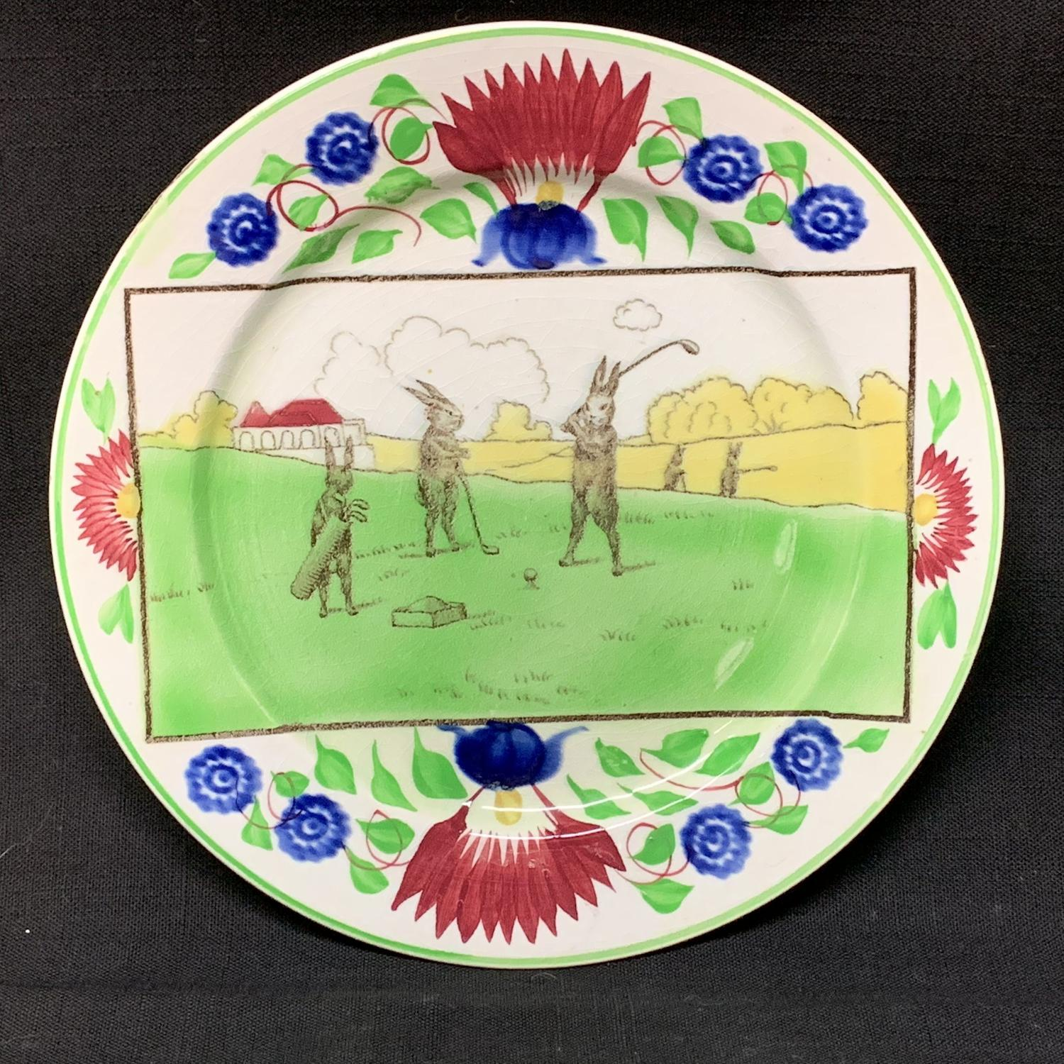C 1900 ~ Anthropomorphized Rabbitware Rabbit Plate ~ GOLF