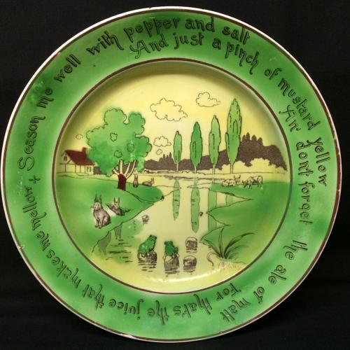 Staffordshire Frogs Cows Rabbitware Charger Platter c1907