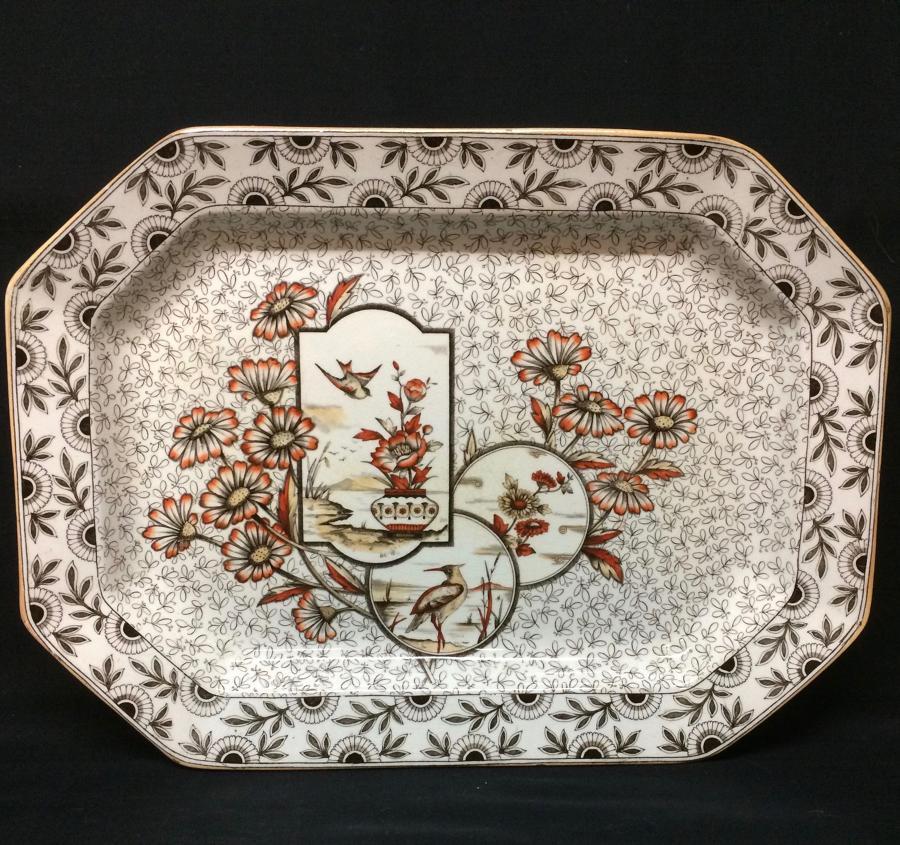 Gorgeous Victorian Aesthetic Transferware Platter ~ Devonshire 1884