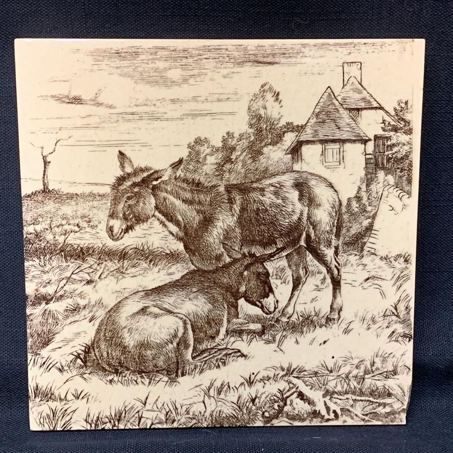 1879 ~ William Wise Brown Minton Tile ~ Burro 1879