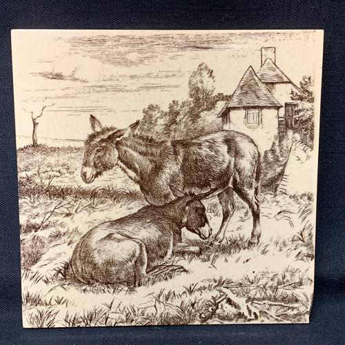1879 ~ William Wise Brown Minton Tile ~ Burro 1879