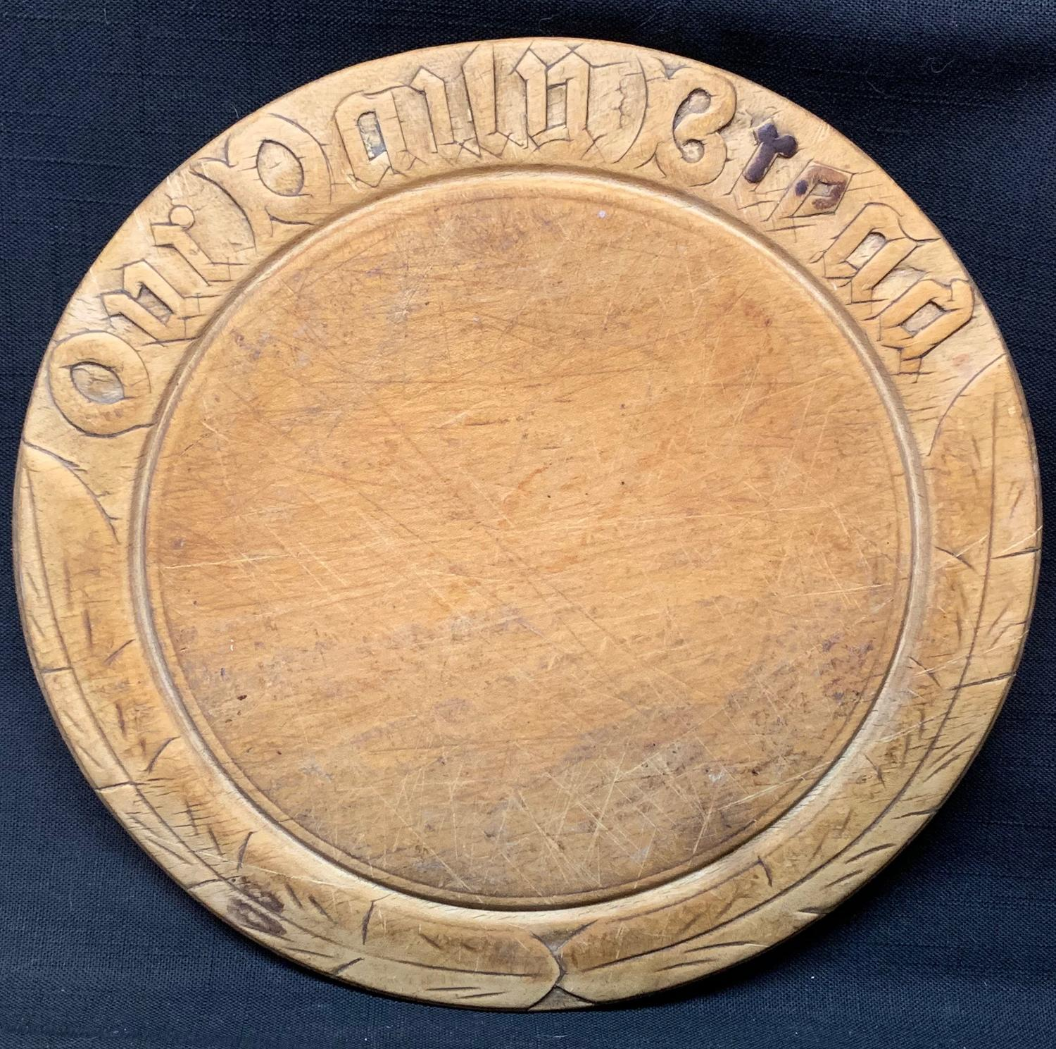 Antique Hand Carved Maple Our Daily Bread Board