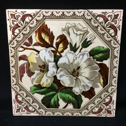 English Brown Transferware Tile ~ Earthy Flowers 1885