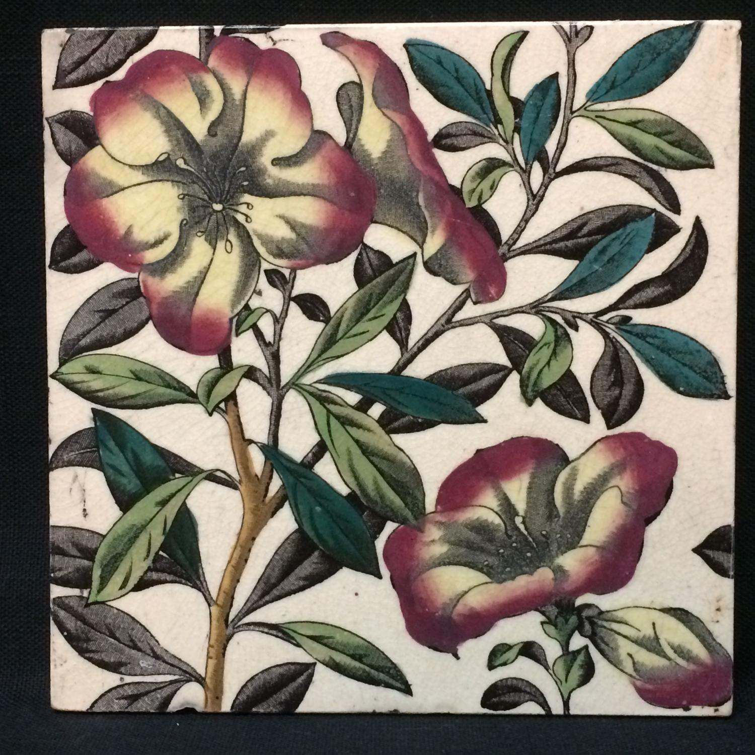 English Brown Transferware Tile ~ Tropical Flowers 1885