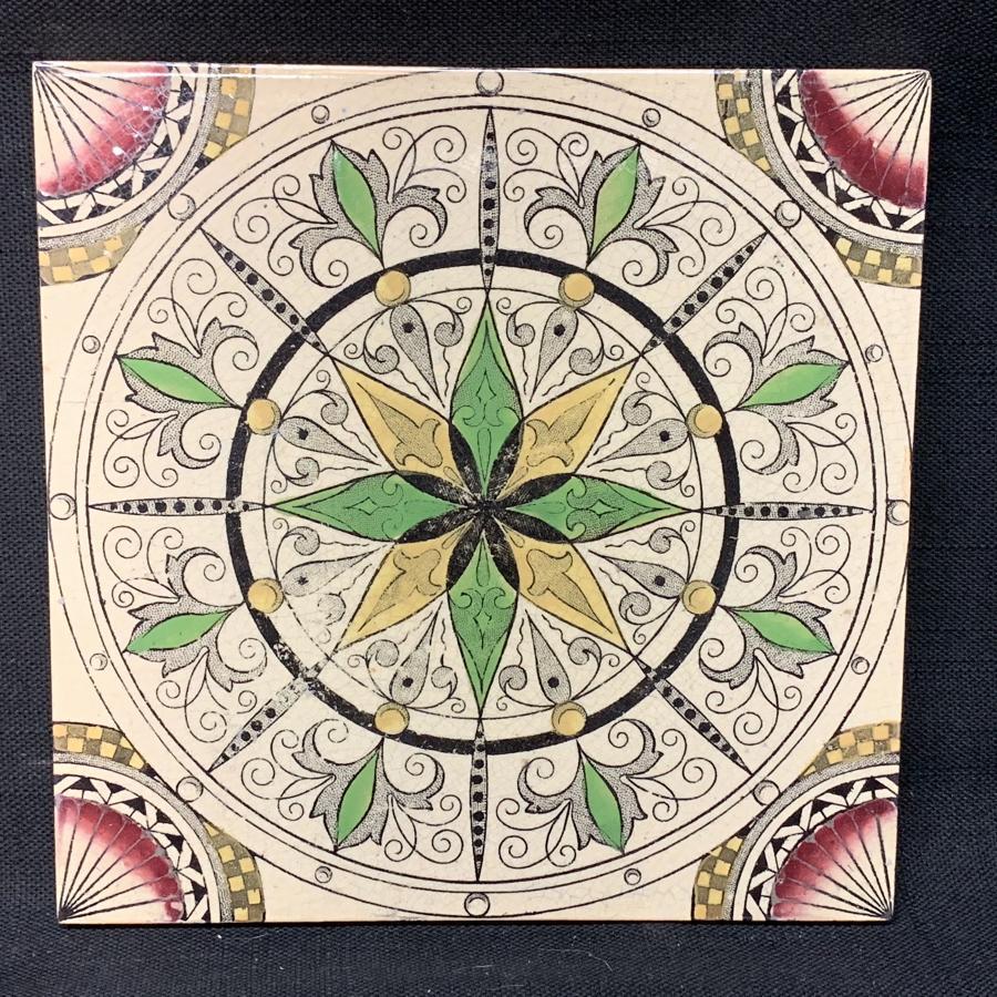 English Brown Transferware Polychrome Tile ~ 1885