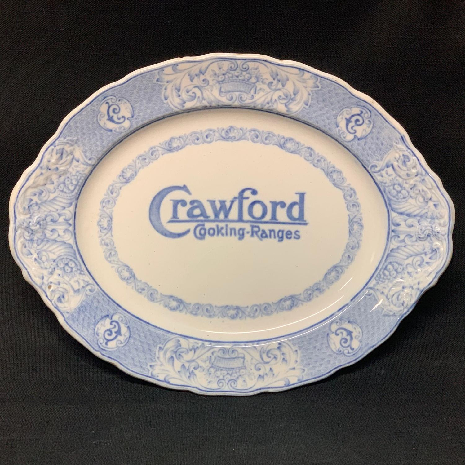 English Blue Transferware Crawford Cooking Ranges Plate ~ 1905