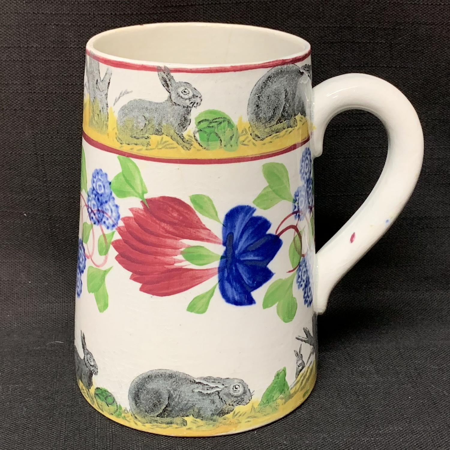 C 1900 ~ Stick Spatter Rabbitware Ironstone Tankard Mug  Virginia Rose