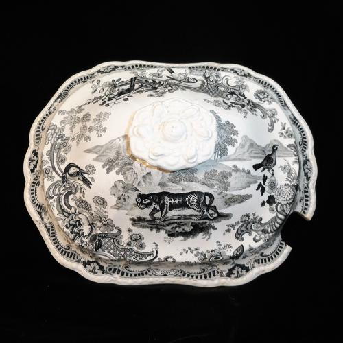 1820 ~ Staffordshire Tureen Lid ~ Zoological Sketches Leopard