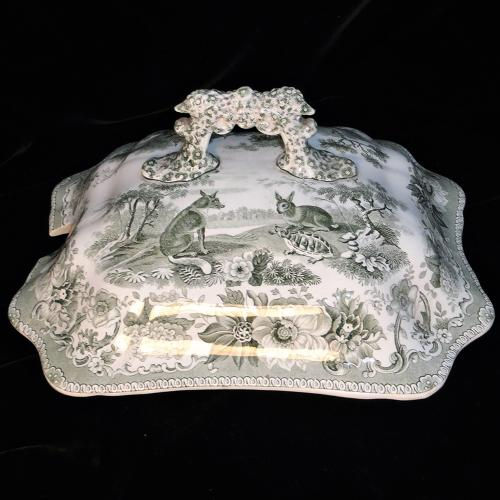 Aesops Fables Soup Tureen Lid ~ Hare and Tortoise 1835