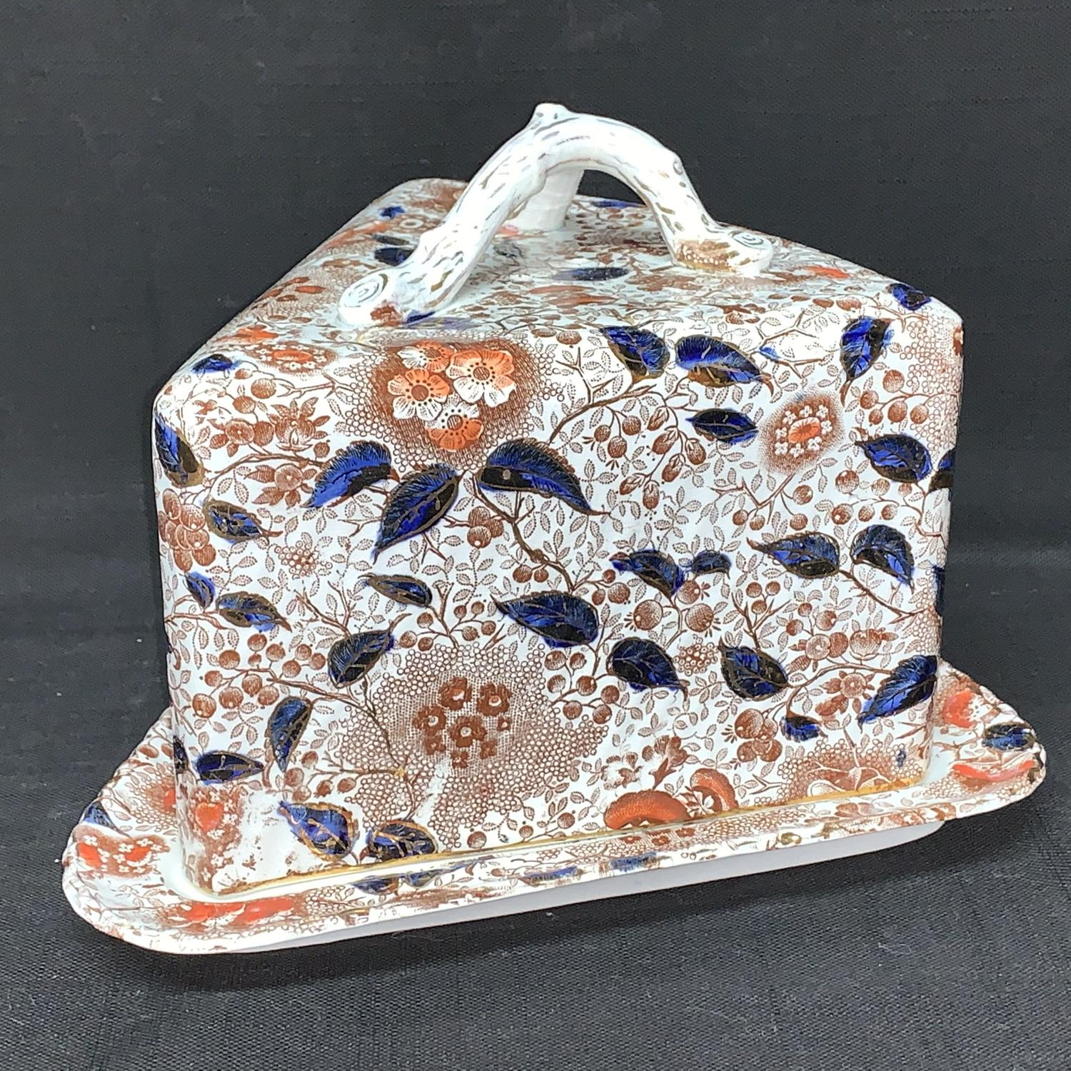 Aesthetic Movement Era Transferware Cheese Dome ~ 1886