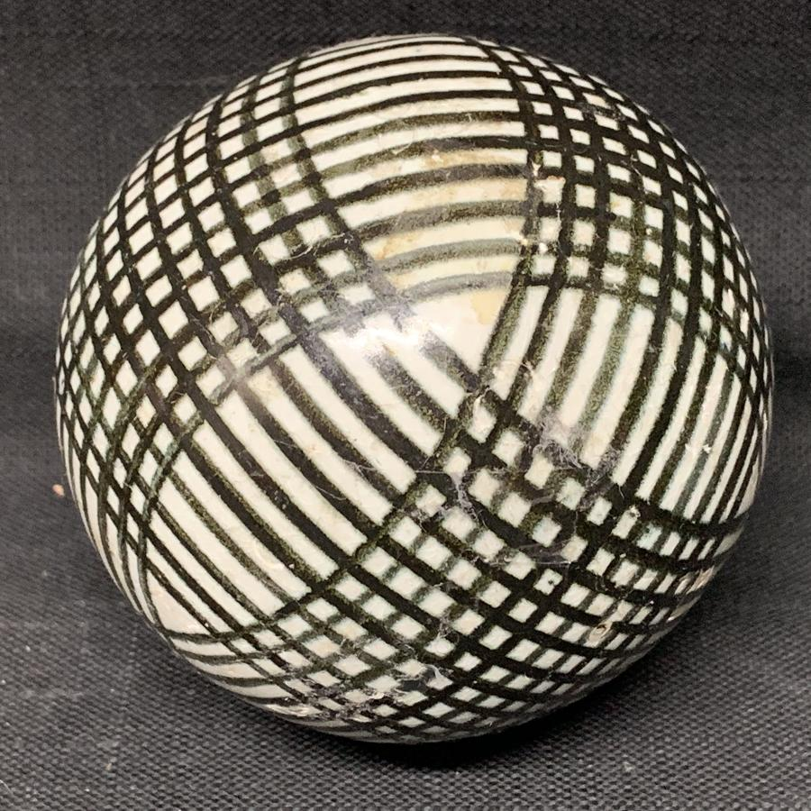 Victorian Ceramic Black Striped Scottish Carpet Ball 1860