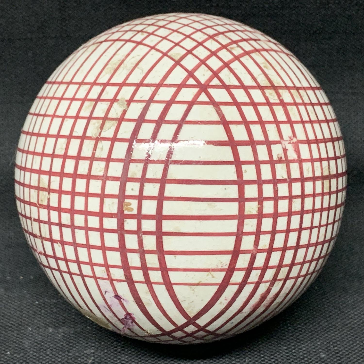 Victorian Ceramic Red Striped Scottish Carpet Ball 1860