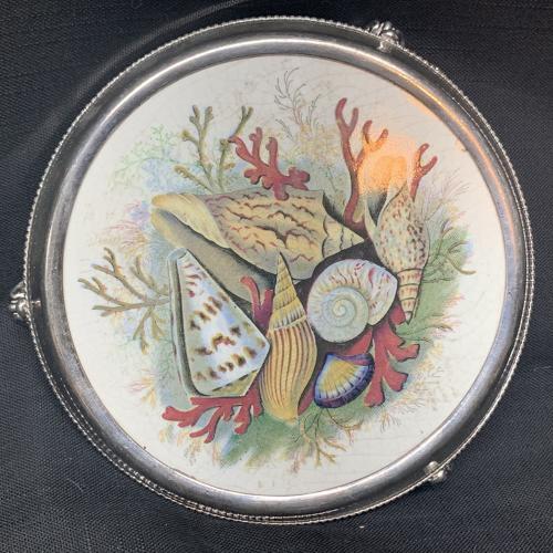 Rare Hand Colored SEASHELL SilverTea Stand ~ 1860 Prattware
