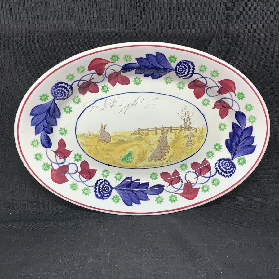 Stick Spatter Rabbitware Ironstone PLATTER ~ Bulls Eye Pattern c1900