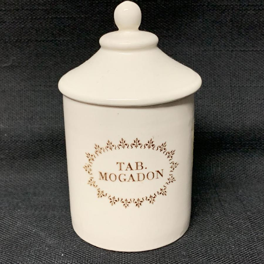 English Brown Transferware Mogadon Pill Pot Box