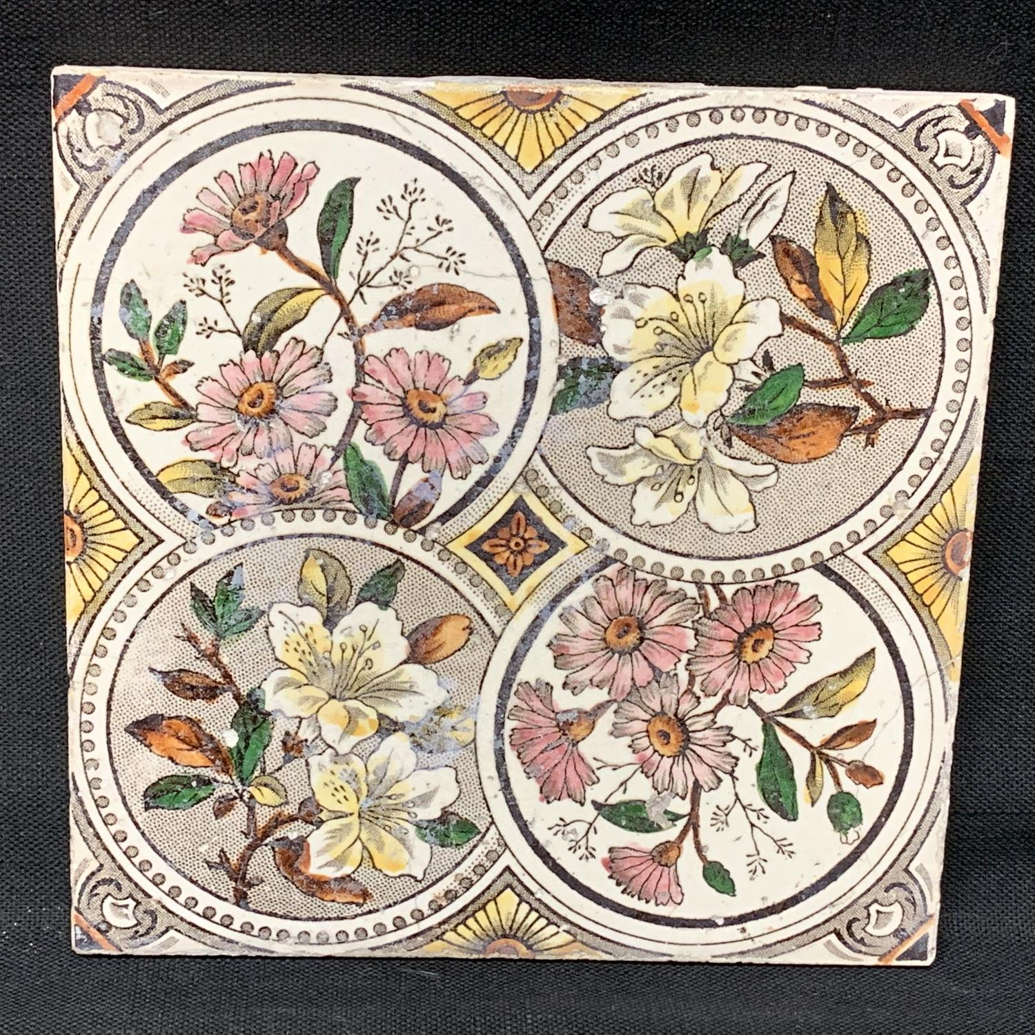 English Brown Transferware PolychromeTile ~ 1885