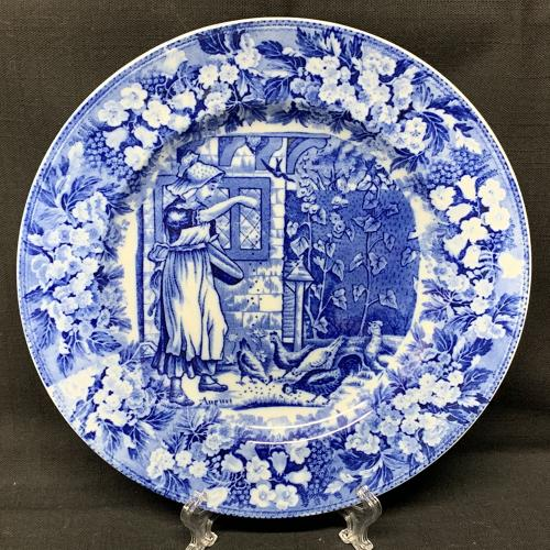 1898 ~ Wedgwood Months Plate ~ August ~ Chickens