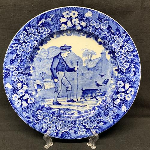 1898 ~ Wedgwood Months Plate ~ OCTOBER ~ Walking Pig