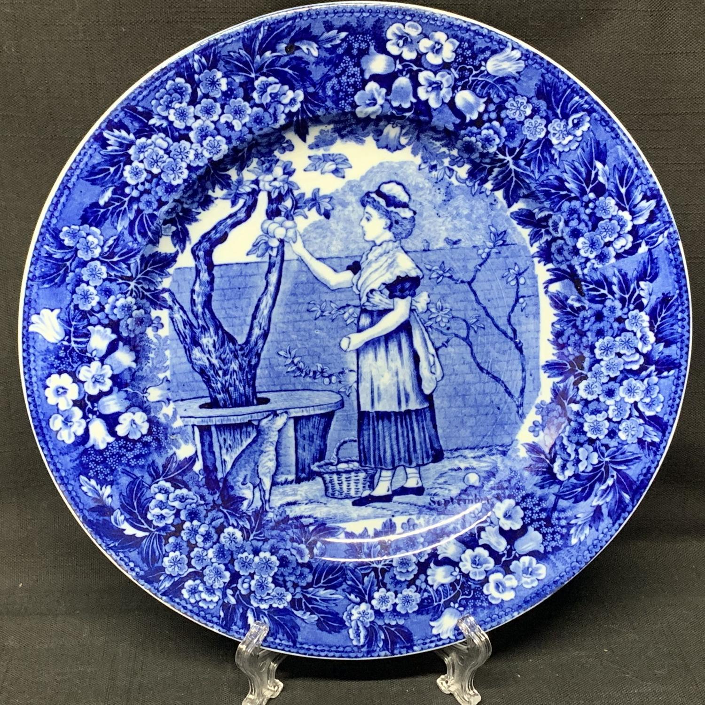 1898 ~ Wedgwood Months Plate ~ SEPTEMBER ~ Picking Apples