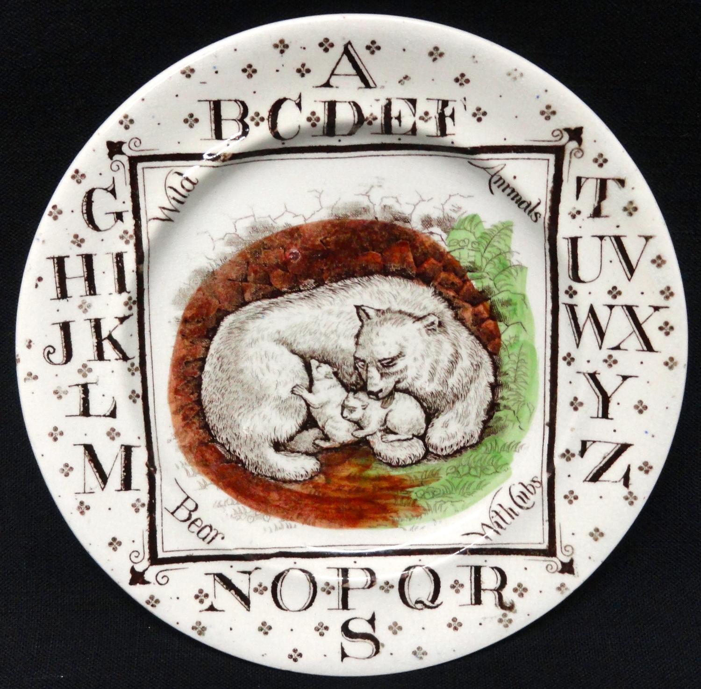 Antique ABC Plate ~ Wild Animals ~ POLAR BEARS 1880